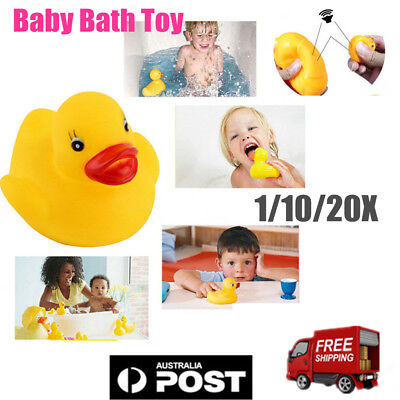 1~20pcs Mini Yellow Rubber Race Squeaky Bathing Duck Ducky Baby Toys Gifts AU