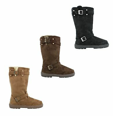 15587eda6 Ella Harley Ladies Faux Suede Women Flat Fur Lined Tall Winter Warm Boots
