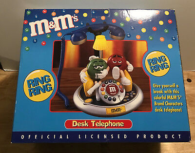 M&M's Desk Telephone Green/Red Characters Ages 6+ BRAND NEW