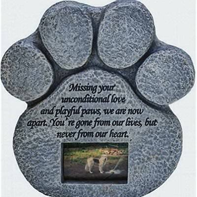 Pet Dog Picture Grave Memorial Stone Paw Print Cat Plaque Marker Headstone Gift