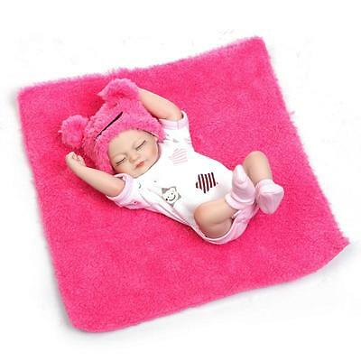 "11"" Mini Reborn Baby Dolls Full Silicone Body Anatomically Correct Girl Doll Toy"