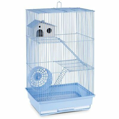 Hamster Gerbil Mouse Pet Cage 3 Level Pig Rat Home Wire Small Animal House Blue