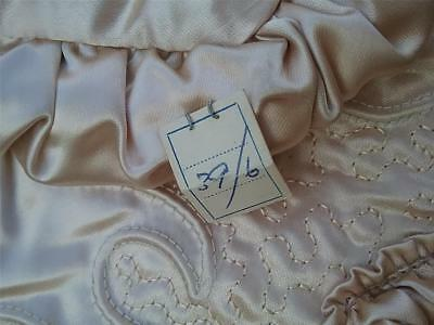"Embroidered ArtDeco Styled Vtg Antique PAIR Cushion Covers/Shams 20"" Gold Satin"
