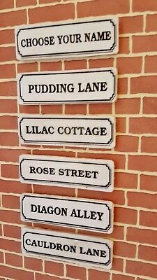 STREET or HOUSE name Plaque / Sign PERSONALISED dolls house 1:12th scale