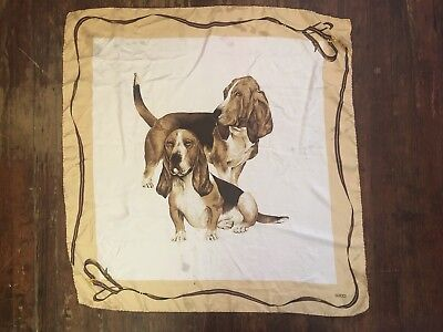 vtg GUCCI Scarf, Silk with Basset Hounds