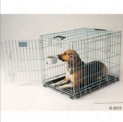 Metal Dog Cage Residence Cushion Safe Car Transport Travel Puppy Training Handle