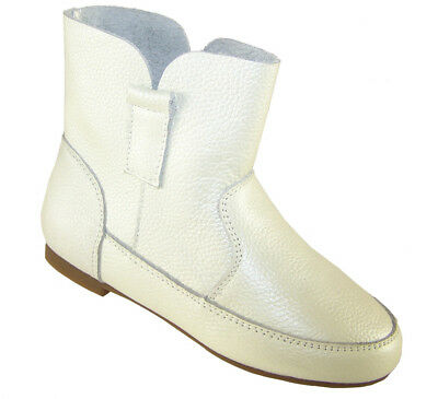 Girls Children Kids White Leather Pull On Faux Fur Lined Ankle Fashion Boots