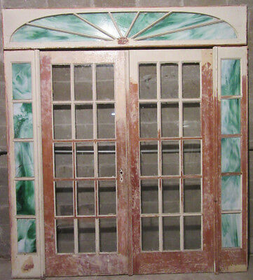 Antique Entryway French Doors Sidelites Transom Stained Glass ~ 88X98~ Salvage