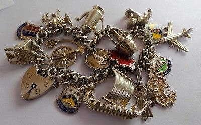 Fabulous vintage solid sterling  silver charm bracelet & many silver charms,1970