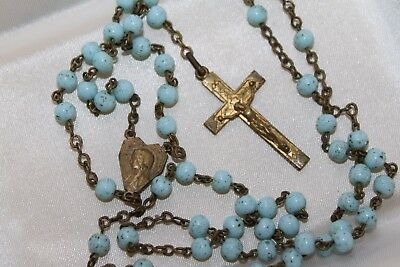 """19.5"""" Antique Brass Religious Rosary Speckled Turquoise Glass beads 25g"""