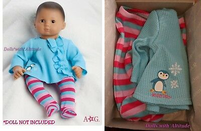 """American Girl  BITTY BABY RUFFLED PENGUIN PAJAMAS for 15"""" Baby Doll Holiday NEW"""