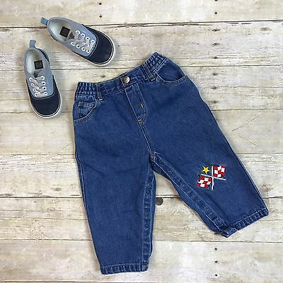 VTG Toddler Boy Jeans Size 2T 24 Mos 2 Yrs Elastic Waist Embroidered Racing Cars