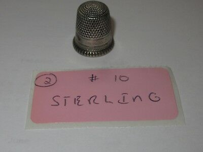 Antique Sterling Silver #10 Thimble Vintage Sewing 2