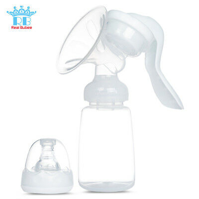 Manual Breast Pump 180° Rotation Massage Suction Baby Breastfeeding +Milk Bottle