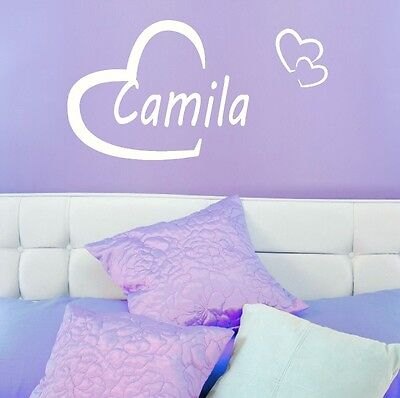 Camila Girls Heart Name Wall Sticker + Love Heart Art Decor Transfers