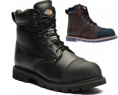 New Mens Dickies Heavy Duty Leather Work Safety Steel Toe Cap & Midsole Boots Sz