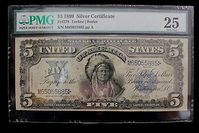 1899 $5.00 Silver Certificate Chief FR 278 PMG 25