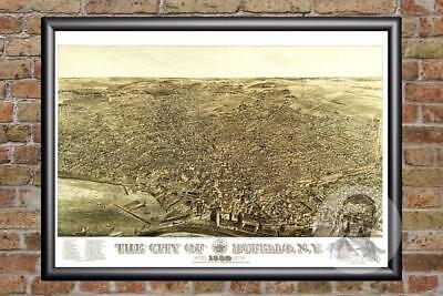 Vintage Buffalo, NY Map 1880 - Historic New York Art - Old Victorian Industrial