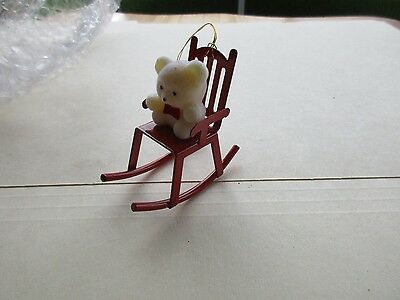 avon gift collection christmas ornament teddy in a rocker