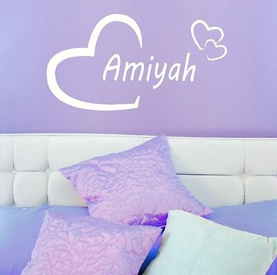 Amiyah Girls Heart Name Wall Sticker + Love Heart Art Decor Transfers