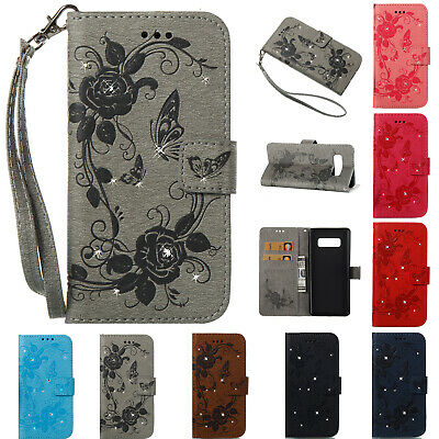 Diamond Butterfly Wallet Case Leather Cover fr Samsung Galaxy Phone/Note9/S8+/S9