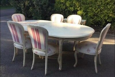 Cream Shabby Chic Large Dining Table & Six Chairs.