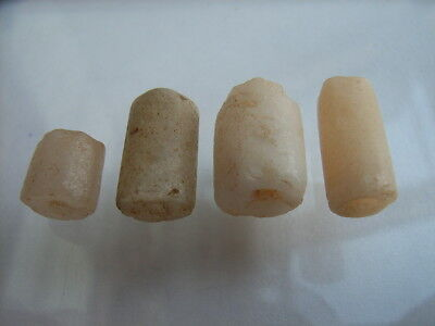 4 Ancient Neolithic Rock Crystal, Quartz Beads, Stone Age, VERY RARE!  TOP !!