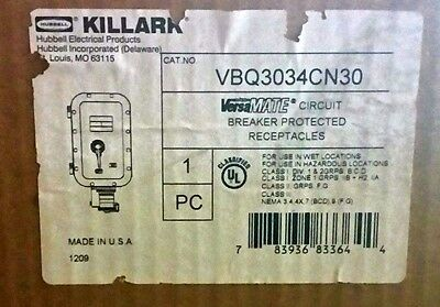 NIB Killark VBQ3034CN30 Explosion Proof Enclosure Breaker Receptacle 30Amp