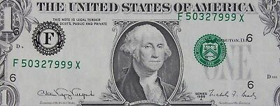 $1 1988A Misaligned Overprint Error Federal Reserve Note F50327999X FREE SHIP.