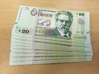 Uruguay Banknote P New 20 Pesos 2015 Serie G, Lot Of 10, Unc