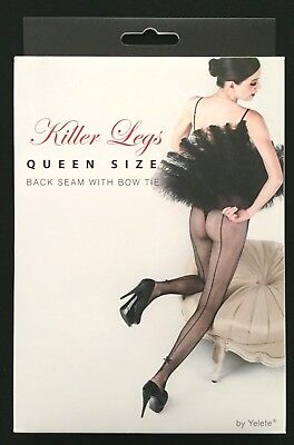 New Killer Legs Yelete Queen Size Fishnet Pantyhose 168Yd022Q Back Seam W/ Bow