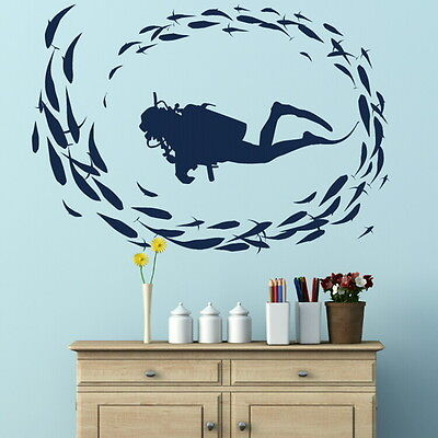 SCUBA DIVER DEEP SEA DIVING FISH WALL ART DECAL kids vinyl stencil new RA10