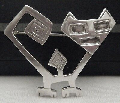 "A Unique Vintage Mexican or Indian Modernist Style Abstract ""Cat"" Design Brooch."