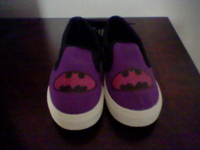 Brand New Girls Size 2 Dc Comics Batgirl Canvas Slip On Shoes (Youth Size)