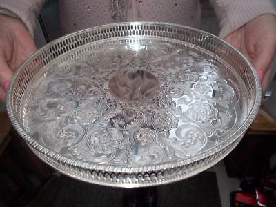 Vintage Silver Plated Viners Circular Champagne Tray Fret Cut Gallery
