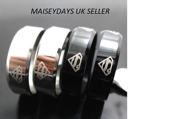 Mens New Silver Or Black Stainless Steel Superman Rings All Ring Sizes