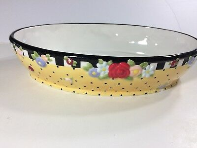 Mary Engelbreit Ceramic Oval Serving Bowl Yellow Polka Dot Floral