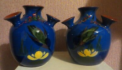 Large Matched Pair Of Longpark Torquay Pottery Diving Kingfisher Udder Vases
