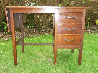 Small Oak and Oak Veneer 1920's Desk with Three Drawers & Lift Up Leaf Extention