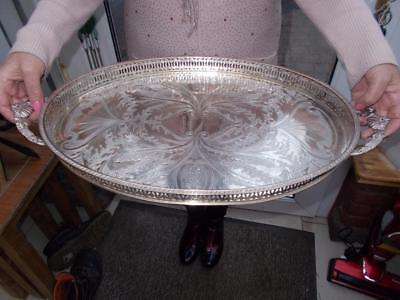 Large Silver Plated Gallery Tray Decorative Vine Grapes & Clam Shell Handles