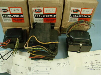 Lot of 3 VTG OLSON Power Transformers Guitar T-367 T-318 T-360 Amp NEW OLD STOCK