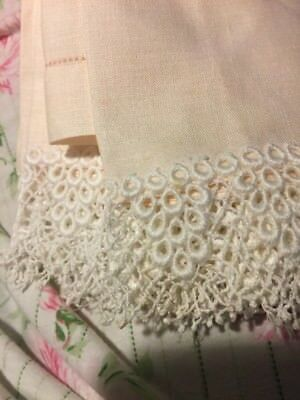 ANTIQUE Pink Three LINEN * TATTED LACE French English * Vintage TEA TOWELS (TX)