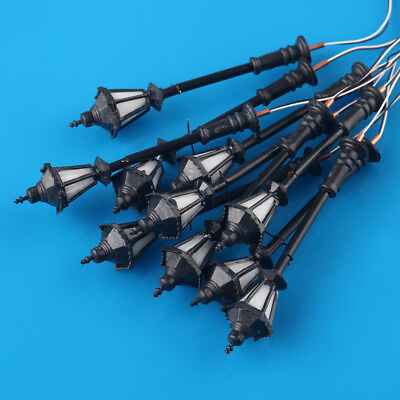 10pcs HO or OO Model Lamppost Long Life LED Lamp Antique Victorian Light
