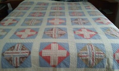 "Vintage Very Thin Quilt with Centennial Fabric 80"" x 66 1/2"""