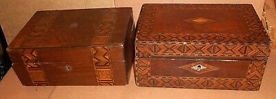 2 Antique Tunbridge Ware Sewing / Jewellery Boxes For Restoration