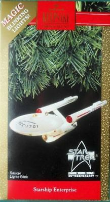 NIB STARSHIP ENTERPRISE Hallmark 1991 STAR TREK Ornament 25th Anniversary