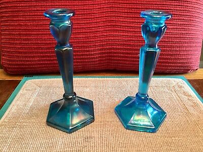 Vintage Northwood Carnival Glass Candlesticks Blue