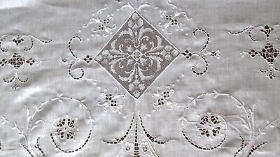 "antique fine linen tablecloth w cutwork+large filet lace insets 86x68"" lovely!"