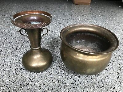 2 antique Imperial Russian handmade brass and copper vases, Tula