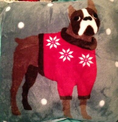BOSTON TERRIER Fleece Holiday Throw Pillow THE SOFTEST PILLOW YOU WILL EVER OWN!